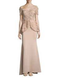 Nicole Bakti Lace And Sequin Peplum Gown Dusty Rose
