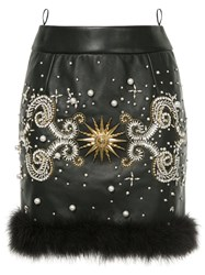Fausto Puglisi Jewelled Mini Skirt Acetate Viscose Turkey Feather Lamb Nubuck Leather Black