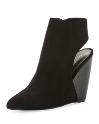 Charles By Charles David India Open Back Suede Wedge Bootie Black