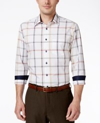 Tasso Elba Men's Big And Tall Check Long Sleeve Shirt Classic Fit Dark Auburn Combo
