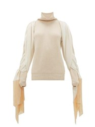 Hillier Bartley Fringed Sleeve Roll Neck Cashmere Sweater Cream