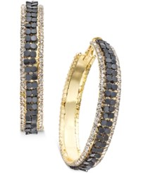 Thalia Sodi Gold Tone Mesh And Crystal Hoop Earrings Only At Macy's Black