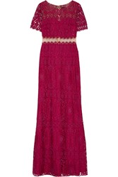 Marchesa Notte Tulle Paneled Embellished Corded Lace Gown Plum