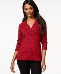 Karen Scott Shawl Collar Long Sleeve Sweater Only At Macy's New Red Amore