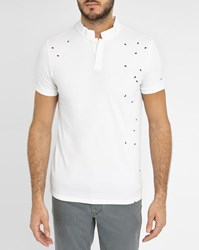Ikks White Standing Collar Round Embroidery Polo Shirt