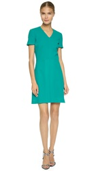 Victoria Beckham V Neck Box Pleat Dress Lush Green