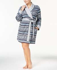 Nautica Plus Size Short Knit Wrap Robe Navy Print