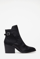 Forever 21 Buckled Ponyhair And Leather Booties Black