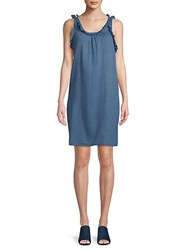 Ag Adriano Goldschmied Ruffled Cotton Dress New Blue