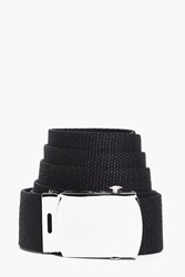 Boohoo Canvas Belt With Metal Buckle Black
