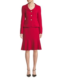 Albert Nipon Two Piece Jacket And Flounce Skirt Set Crimson