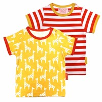Toby Tiger Giraffe T Shirt 2 Pack White Yellow Orange