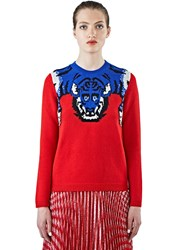 Gucci Tiger Knit Crew Neck Sweater Red