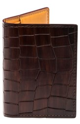 Magnanni Men's Leather Card Case Brown Tabaco