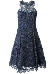 Marchesa Notte Embellished Metallic Party Dress Blue