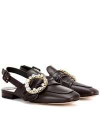 Miu Miu Embellished Slingback Leather Loafers Brown