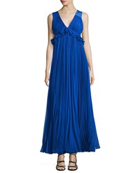 Rebecca Taylor Empire Waist Pleated Chiffon Gown Deep Blue