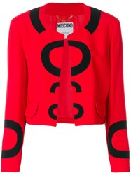 Moschino Vintage Collarless Open Jacket Red
