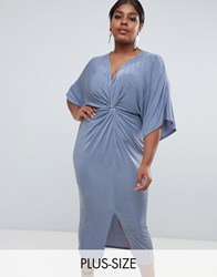 Missguided Plus Kimono Sleeve Twist Front Midi Dress In Blue