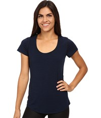 S S Workout Tee Sodalite Blue Lucy Black Stripe Women's Workout