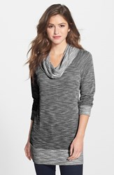 Women's Bobeau Cowl Neck Tunic Top Black White
