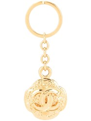 Chanel Vintage Logos Key Holder Bag Charm Gold