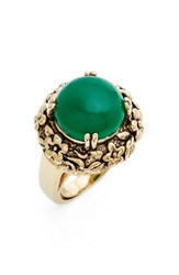 Metal Stone Women's And Floral Set Ring Gold Green Agate