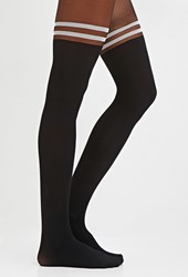 Forever 21 Varsity Striped Tights Black White