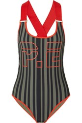P.E Nation The Back Paddle Striped Printed Swimsuit Black