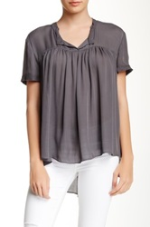 Zoa Short Sleeve Pleated Silk Blouse Gray
