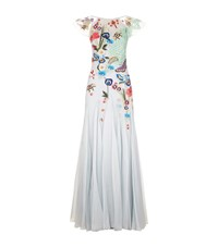 Temperley London Aura Lace Embroidered Gown Female Blue