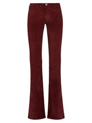Mih Jeans Marrakesh High Rise Kick Flare Velvet Trousers Burgundy