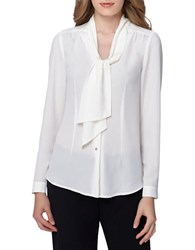 Tahari By Arthur S. Levine Petite Bow Tie Woven Top Ivory