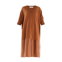 Paisie Relaxed Fit Knitted V Neck Dress In Brown