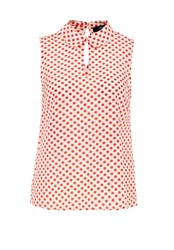 Hallhuber Rounded Collar Blouse With Daisy Print Red