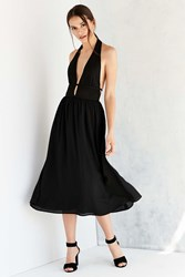 Silence And Noise Silence Noise Banded Waist Halter Midi Dress Black