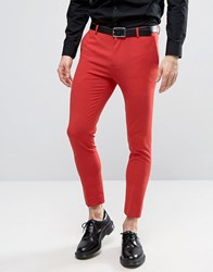 Asos Extreme Super Skinny Cropped Smart Trousers In Red Flame Scarlet