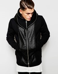 Asos Hooded Jacket With Leather Look Trim Black