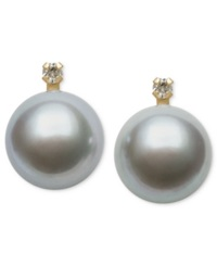 Belle De Mer Dyed Gray Cultured Freshwater Pearl 9Mm And Diamond Accent Stud Earrings In 14K Gold