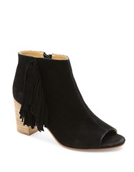 Kensie Erika Suede Open Toe Ankle Boots Black