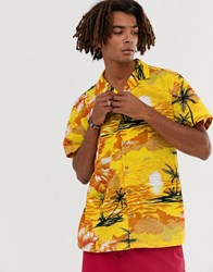 Brooklyn Supply Co. Co Revere Collar Shirt With Vintage Palm Print In Yellow