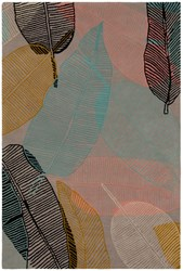 Chandra Jessica Swift Patterned Rectangular Designer Wool Area Rug 2 5' X 7'6 Grey Pink Blue Yellow Black
