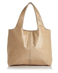 Halston Heritage Tina Large Open Soft Leather Tote Champagne Silver