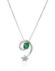 Incanto Royale Emerald And Diamond Star 18K Gold Pendant Necklace Silver