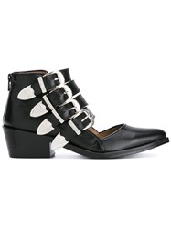 Toga Pulla Buckle Strap Cut Out Ankle Boots Black