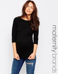 New Look Maternity 3 4 Sleeve Boatneck Top Black