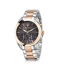 Maserati Traguardo Two Tone Stainless Steel Chrono Men's Watch Silver