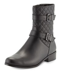 Neiman Marcus Rikki Quilted Leather Bootie Black Blac