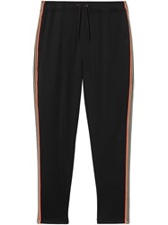 Burberry Icon Stripe Detail Jersey Trackpants Black