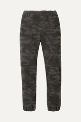Nili Lotan French Military Cropped Camouflage Print Cotton Twill Tapered Pants Gray